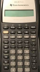 Calculator keys for BA II Plus